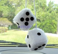 Wholesale 5 X New White Hanging Mirror New Plush Fuzzy Funny Dice order lt no track