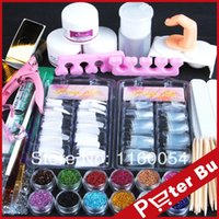 Wholesale 2014 new Acrylic Powder fine Glitter sanding File Brush Rhinestones Tweezer cutter UV acrylic Art Set Kit