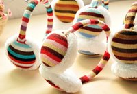 Wholesale Color stripe knitted plush earmuffs
