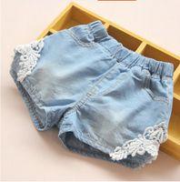 Pantalon court d'été Prix-Vente en gros-1165527 Vente au détail de nouveaux 2015 Summer Fashion Bébé Denim Shorts Patchwork dentelle Pantalons Casual Children's Clothing