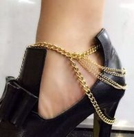 ankle cuff heels - New Sexy Women Gold Tone Row Drapped Ankle Chains Anklet Foot Bracelet Chain For Heel Shoe Jewelry Free M1855