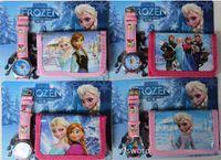 Wholesale Frozen Anna Elsa Sets Watch And Wallet Purse Wrist Quartz Christmas Children Gift Boys Girls Cartoon Watches