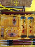 art craft glasses - 2016 New Chinese traditional stationery gift set arts and crafts with collection value glass handicraft