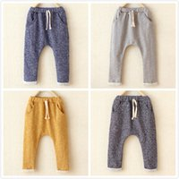 Wholesale Children s cotton harem pants baby boys and girls leisure pants kids trousers boys clothes fashion Haren turnup trousers