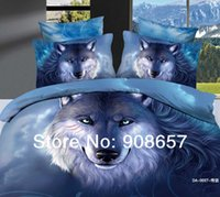 Cheap 7-8pc 2014 3D bedding blue wolf animal print linen comforters bed in a bag duvet covers set bed linens full queen king cal king