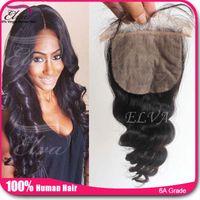 Cheap 6A Cheap Brazilian Loose Wave Silk Base Closure Virgin Hair Brazilian Silk Closure FreeStyle Middle 3 Way Part Silk Base Closure