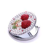 Wholesale Cherry inlay rhinestone cartoon portable portable folding mirror SHYP0534
