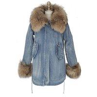 Wholesale Woman Winter Large Faux Fox Fur Collar Jeans Jacket Beam Waist Plus Velvet Outwear Woman Lamb Wool Demin Coats Female SWM0129