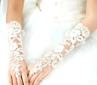 Wholesale Hot Sale Wedding Gloves French Lace Long Gloves Ivory White Lace Fingerless Gloves Bridal Gloves Wedding Accessory Victorian CPA242