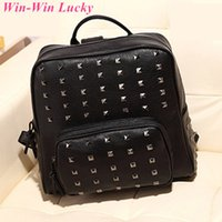 Wholesale Women PU Leather Shoulders Nackpack Fashion Rivet Large Capacity Travel Bag Girls Tote School Bags Black and Rose
