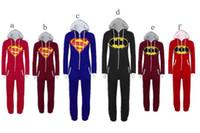 adult batman suit - Batman superman full body suit costume cosplay suit cartoon pajamas for Adult