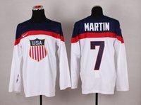 Cheap 2014 Sochi Olympic Team USA Hockey Jersey #7 Paul Martin White Ice Hockey Jerseys