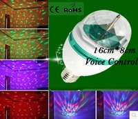 Wholesale Voice Control E27 RGB Stage lamp W Full Color Disco LED Crystal Stage colorful Light Bulb lamp globe ball Spotlight