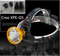 Wholesale Drop shipping New LED Headlight lm Mode CREE Q5 Headlamp Head light LED Head Lamp Flashlight Torch AC charger