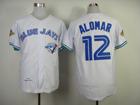throwback jerseys - Blue Jays Alomar Throwback White Jerseys Majestic Athletic jersey Cooperstown Collection vintage baseball jerseys sport shirts