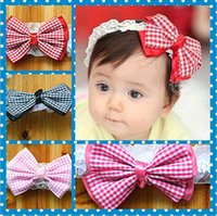 Wholesale 0 T baby Hair Accessories For Infant Baby Lace Plaid Big Bow Princess Babies Girl Hair Band Headband Baby s Head Band Kids