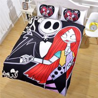 Polyester / Cotton quilts - Hot Sale Bedding Nightmare Before Christmas Duvet Cover Pillow Case New Year Gifts Dark Quilt Bedclothes Twin Full Queen