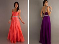 Wholesale Fashion Evening Dresses Prom Dresses A Line Sweetheart Backless Floor Length Chiffon Crystal Beaded Sequins