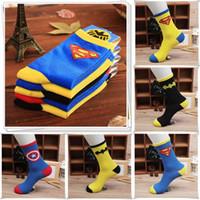 batman slippers - Free DHL Hot Mens socks Sports Sock Cotton socks Batman Socks Superman socks Super Hero socks For Men LA63