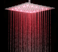 Wholesale 16 Inch Chrome LED Rain Shower Head RGB Colors Changing Temperature Sensoring Bathroom Shower Stainless Steel Material Square