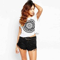 Wholesale Loose Casual Summer Women Short White T shirt With Black Printing Short Sleeves Cheap Women Clothing Tops Europe Style