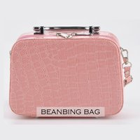 alligator mirror - Stone PU Cosmetic Case Women Make Up Box Large Capacity Jewelry Storage Box Handbag comestic tote bag mirror candy color handbag lady