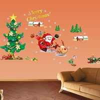 baby xmas ornaments - Merry Christmas Tree Cartoon Kids Baby Wall Sticker Home Shop Classic Xmas Art Glass House bedroom Living Room ornaments Decoration Decals