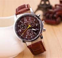 achat en gros de horloge dhl-Genève Montres 2016 Montre en cuir Splendid Mode de luxe Hommes Casual Quartz Montres analogiques Marque Horloge Homme Casual Cool Montre DHL gratuit