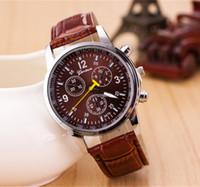 al por mayor dhl reloj-Relojes de Ginebra 2016 Casual Splendid moda de lujo de los hombres ocasionales de reloj del cuero relojes de cuarzo analógico reloj Marca masculino fresco libre de DHL Reloj