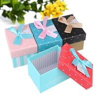beauty display cases - 5pcs High Grade Beauty Gift Boxes Exquisite Display Birthday Festival Loving Present Box Case BOW TIE Handmade Smooth Paper Colorful box