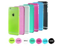 Wholesale 50pcs For iphone s Colored Screen Protectors Full Body Skins Litchi Skin Leather Stickers Covers Front Back Protection Film For s plus