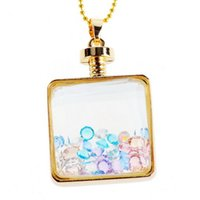 Cheap Floating Charm Heart and Quadrate DIY Best Memory Floating Pendant Necklace Gilded