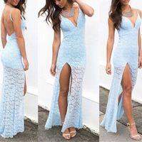 Cheap New Fashion Elegant Women Blue Long Dress Full Lace Print Strap Backless Dress Slim Waist Slip Hip For Lady Cocktail Vestidos