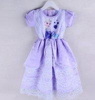 ann summers - Froze Ann Elsa Summer Girls Dresses Short Sleeve Lace Tutu Splicing Sundress Kids Princess Dressy EMS DHL J3212
