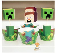 cupcake toppers - 2015 Minecraft Party Decorations Event Cupcake Wrappers Creeper Steve Cup Cake Toppers Picks Kids Birthday Supplies Party Favors