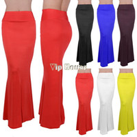 Cheap Dropping Shipping New Arrival Summer Full Long Maxi Skirt Puff Beach Skirts High Waist Elastic Waistband 100cm B26 SV001497