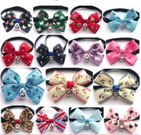 Wholesale Good Quality Dog Cat Collars Adjustable Pet Dogs Cats Bow Tie with Bells Cravat Colors Available Cheap