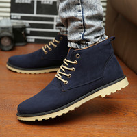 Wholesale England Men Boots Shoes Suede Leather Lace Up Man Martin Boots Round Toe Mens Single Male Shoes Joker Ankle Boots For Men Retail H1136