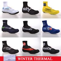 Wholesale Winter thermal fleeece Shoes Cover FDJ Cycling Outdoor Sports STYLE Cycling MTB Bike Racing Protective Gear black shoes cover