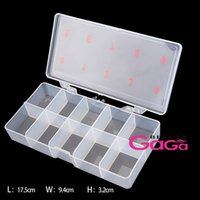 Cheap Professional Nail Art Salon Products 10 Compartments Transparent Clear Clamshell Type Empty Nails Storage Box Tool Case