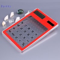 Wholesale Hot Fashion Mini Slim Transparent Clear Solar Power Student Office Portable Pocket Calculator LCD Touch Screen