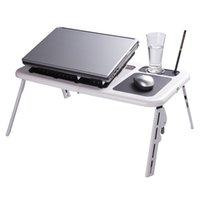achat en gros de portable desk laptop-Réglable Portable Laptop USB table pliante pour ordinateur portable avec 2 ventilateurs de refroidissement + Tapis de souris