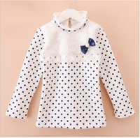 beatiful clothes - 2015 Girls Thickening Lace Cotton Bottoming Shirt Children Long Sleeve Polka Dots Bowknot T shirt Kids Clothing Beatiful Girl Autumn Clothes