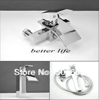 bath vanity ceramic wall - Basin Faucet Wall Mounted Bath Faucet Held Shower As Gift Basin Mixer Tap Vanity Faucet Brass Tap Sink Faucet Swan Chrome S