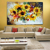 art sunflowers - Natural Blooming Golden Sunflowers Palette Knife Painting Wall Art Picture Printed On Canvas Picture For Office Home Decor