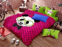 Wholesale Cute Panda Dotted Rose Red Kids Bedding Set Duvet Quilt Cover Set Queen Full Twin Bedset Children Gift free ship