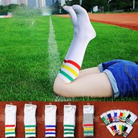 Stockings beautiful football - AA cotton three striped sports long stockings towel beautiful football lovers women men socks