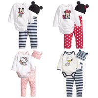 Wholesale 100 cotton baby new born kids toddler rompers long sleeve sets body suit pants hat for baby clothing set mickey minniekitty LW