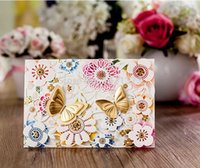 baby envelope seals - 2015 New Baby Shower Buterfly Laser Cut Out Wedding Invitations Cards Envelopes Seals Gatefold Invites Convite Casamento
