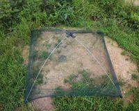 net fishing equipment - Foldable Mesh Fishing Net Baits Portable Trap Cast Dip Net Crab Shrimp Fish Up Fishing Tackle Tool Equipment cm